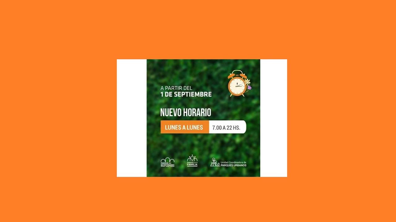 Salta: Nuevo horario de los Parques Urbanos a partir de de septiembre